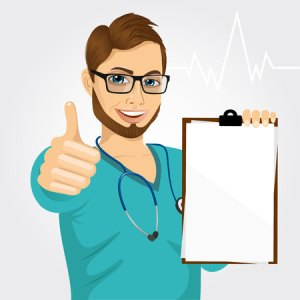 46552001 - handsome male nurse or doctor with glasses holding a blank medical clipboard and giving thumbs up on white background